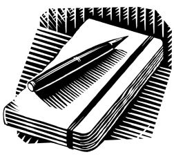 Notebook and pen by Iain McIntosh